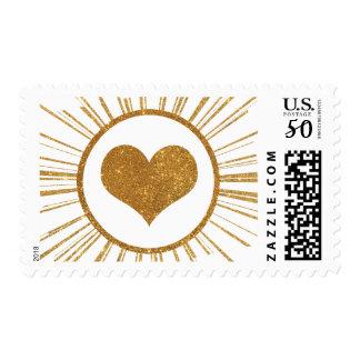Gold Sunburst Art Deco Heart Postage