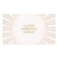 Gold Sunburst on Pink Makeup Artist Business Card