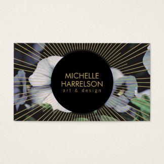 Gold Sunburst on White Flowers Business Card