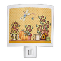 Gold Sunflower Country Prims Pumpkin Autumn Garden Night Light