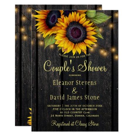 Gold sunflower rustic barn wood couples shower invitation