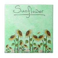 Gold Sunflower Yellow Country Prims Summer Autumn Ceramic Tile