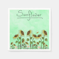 Gold Sunflower Yellow Country Prims Summer Autumn Paper Napkin