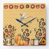 Gold Sunflower Yellow Country Prims Summer Autumn Square Wall Clock