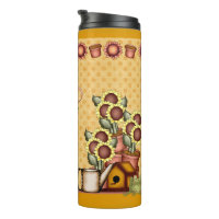 Gold Sunflower Yellow Country Prims Water Bottle Thermal Tumbler