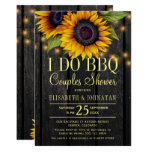 Gold sunflowers country barn wood couples shower invitation