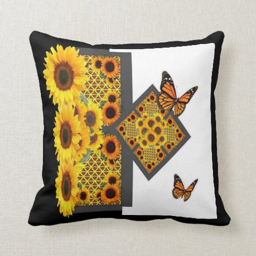 GOLD SUNFLOWERS & MONARCH BUTTERFLIES ART DECO THROW PILLOW