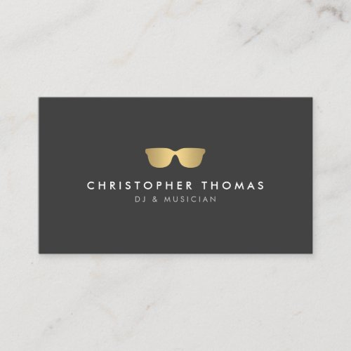 Gold Sunglasses DJ Business Card