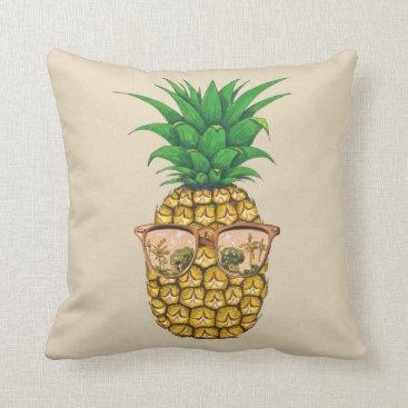 Beach Themed Gold Sunglasses Pineapple | Fruit Illustration Throw Pillow