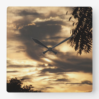 Gold Sunrise Through The Clouds Wall Clock