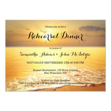 Beach Themed Gold Sunset Beach Rehearsal Dinner Invitation