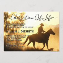 Gold Sunset Cowboy Funeral Memorial Service Invitation