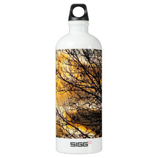 GOLD SUNSET WITH BLACK TREE BRANCHES ALUMINUM WATER BOTTLE