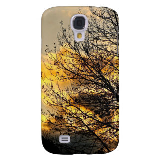 GOLD SUNSET WITH BLACK TREE BRANCHES SAMSUNG GALAXY S4 CASE