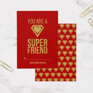 Gold Superhero Friend Classroom Valentine Card Red