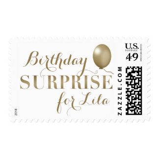 Gold Surprise Birthday Party Stamps