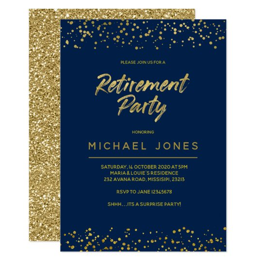 Gold Surprise Retirement Party Invitation Card