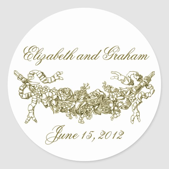 Gold Swag Romantic Stckers / Envelope Seals Classic Round Sticker