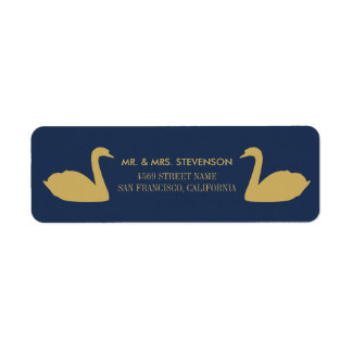 Gold Swans on Blue Background Label