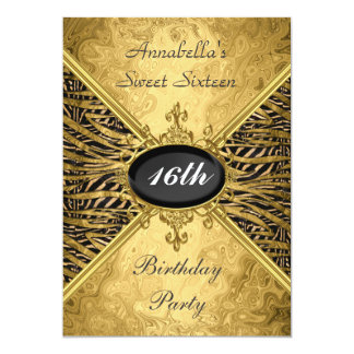 Gold Sweet 16 Birthday Party Card
