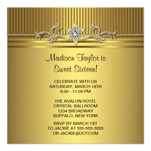 Gold Sweet 16 Birthday Party Personalized Announcements
