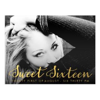 Gold Sweet 16 Sixteen Party Photo Postcard