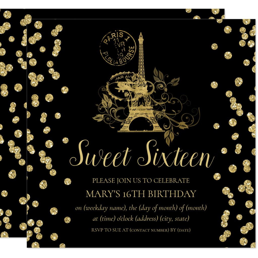 Gold Sweet Sixteen Paris Glitter Confetti Black Invitation