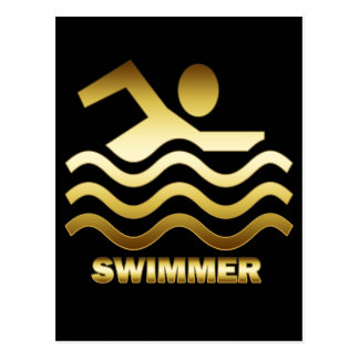 GOLD SWIMMER POSTCARD