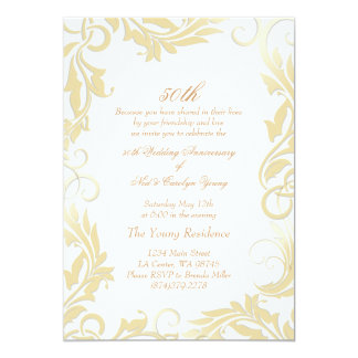 Gold Swirl 50th Wedding Anniversary Invitation