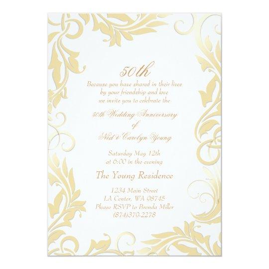 Gold Swirl 50th Wedding Anniversary Invitation Zazzle Com