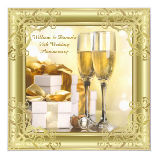Gold Swirl 50th Wedding Anniversary Party Card