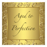 Gold Swirl Aged to Perfection Birthday Party Announcements