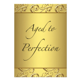 Gold Swirl Aged to Perfection Birthday Party Card