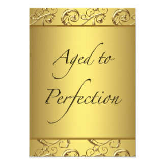 "Gold Swirl Aged to Perfection Birthday Party 5"" X 7"" Invitation Card"