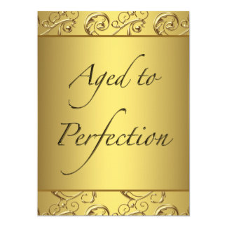 "Gold Swirl Aged to Perfection Birthday Party 6.5"" X 8.75"" Invitation Card"