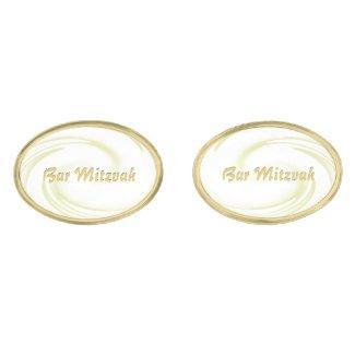 Gold Swirl BAR MITZVAH Gold Finish Cuff Links