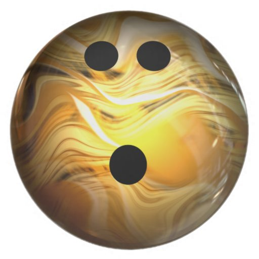 Gold Swirl Bowling Ball Party Plates