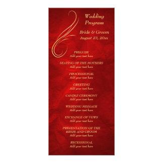 Gold Swirl Bright Red Wedding Program