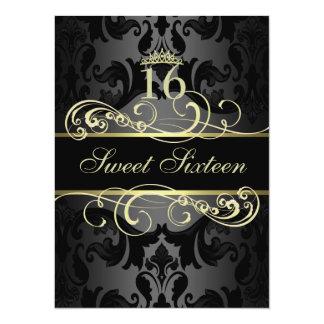 Gold Swirl Damask Sweet16 Birthday Invite