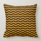 Gold Swirl Effect Background With Black Wavy Lines Throw Pillow (<em>$49.60</em>)