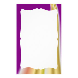 Gold swirl on purple background stationery