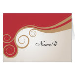 Gold Swirl on Red and Cream Table Card