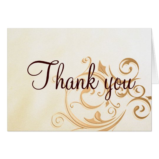 Gold Swirl Thank you Card