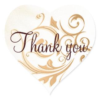 Gold Swirl Thank You Sticker/Seal Heart Sticker