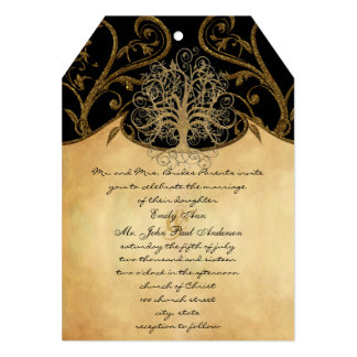Gold Swirl Tree Gold & Black Metallic Wedding Card