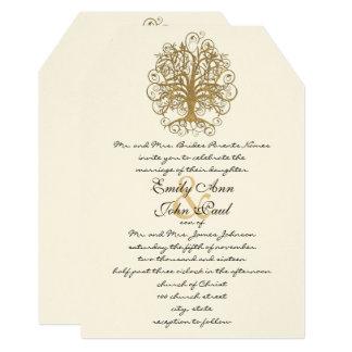 Gold Swirl Tree Wedding Invitation