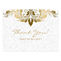 Gold Swirl & White Damasks Thank You Card