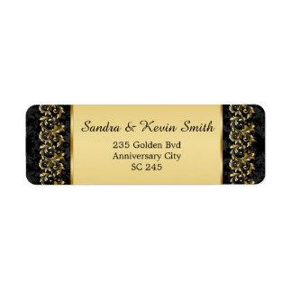 Gold swirls 50th Wedding Anniversary Address label