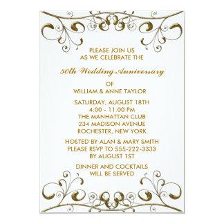 Gold Swirls 50th Wedding Anniversary Invitations