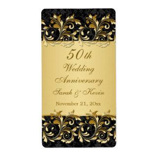 Gold swirls 50th Wedding Anniversary Wine Label
